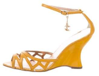 Just Cavalli Embossed Leather Wedge Sandals w/ Tags