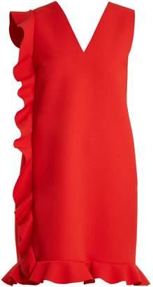 MSGM Asymmetric-ruffled crepe mini dress