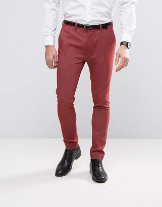 Asos DESIGN Super Skinny Suit Pants In Red Twist