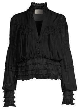 Alexis Women's Saviard Sheer Ruffle Blouse - Black - Size Medium