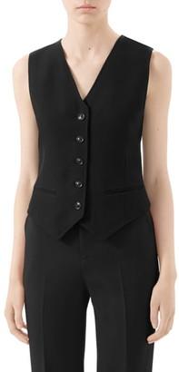 Gucci Wool & Silk Cady Crepe Vest