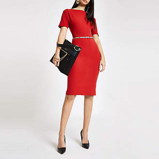 River Island Red boat neck belted bodycon midi dress