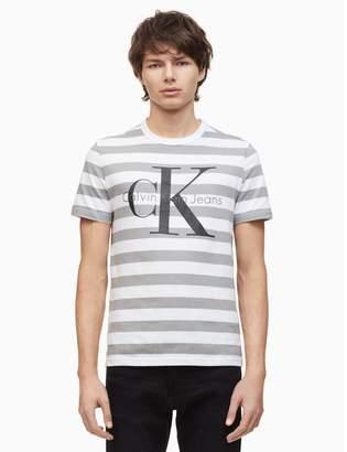 Calvin Klein monogram logo striped crewneck t-shirt