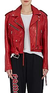Moto ADAPTATION Women's Wrinkled Leather Jacket-Red