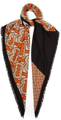 Burberry Tb Print Cashmere Scarf - Womens - Orange Print