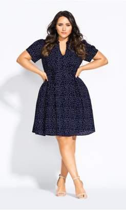 City Chic Citychic Blue Skies Dress - navy