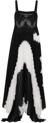 Lace And Pleated Silk-blend Georgette Gown - Black