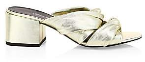 3.1 Phillip Lim Women's Cube Twist Metallic Leather Block-Heel Mules