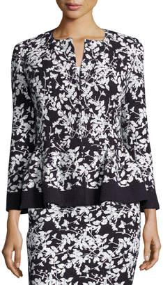 Carolina Herrera Floral-Print Bracelet-Sleeve Jacket, Navy/White