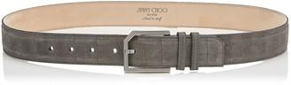 Jimmy Choo ALBIE Smoke Crocodile Print Denim Leather Belt