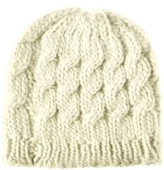 BEIGE Zodaca Women Beanie Hat Winter Warm Crochet Ball Girl Woman Thick Lined Cable Knitted Cap Hat Soft Knit Headwear