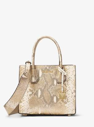 MICHAEL Michael Kors Metallic Snake-Embossed Leather Shoulder Strap