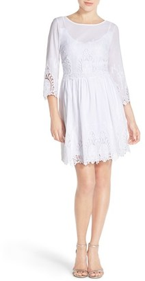 Women's Eci Embroidered Lace Fit & Flare Dress $98 thestylecure.com