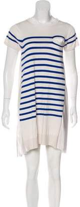 Sacai Striped Short Sleeve Dress
