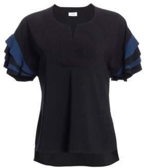 Akris Punto Layered Sleeve Short-Sleeve Blouse