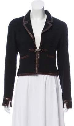 Chanel Leather-Trimmed Wool Blazer