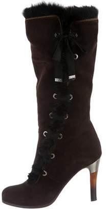 Emporio Armani Mink-Trimmed Suede Boots