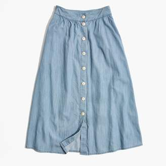 Madewell Palisade Button-Front Midi Skirt in Indigo