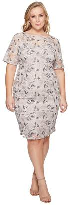 Adrianna Papell Plus Size Suzette Embroidery Sheath Women's Dress
