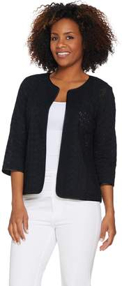 Joan Rivers Classics Collection Joan Rivers Mixed Pattern Eyelet Jacket with 3/4 Sleeves