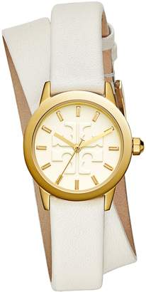 Tory Burch GIGI DOUBLE-WRAP WATCH, IVORY LEATHER/GOLD-TONE, 28 MM