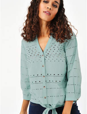 George Teal Broderie Anglaise Tie Front Blouse
