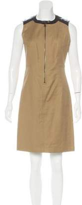 Belstaff Leather-Trimmed Sleeveless Dress