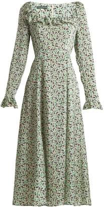 ALEXACHUNG Floral-print square-neck dress