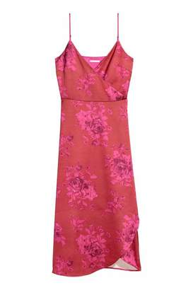 H&M Satin Wrap Dress - Red/pink patterned - Women