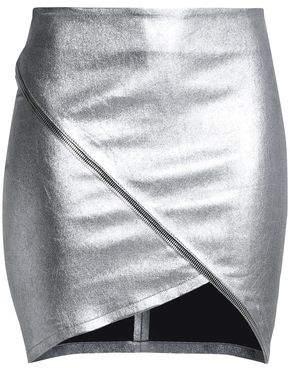 RtA Zip-Detailed Metallic Leather Mini Skirt