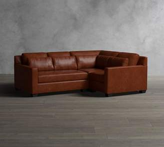 Pottery Barn York Square Arm Deep Seat Leather 3-Piece Sectional with Corner