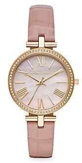 Michael Kors Maci Three-Hand Leather-Strap Watch