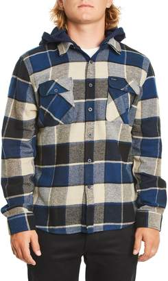 Brixton Bowery Plaid Flannel Shirt with Hood