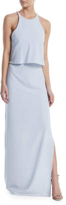 Halston High-Neck Gown w/ Draped Ruffle Back