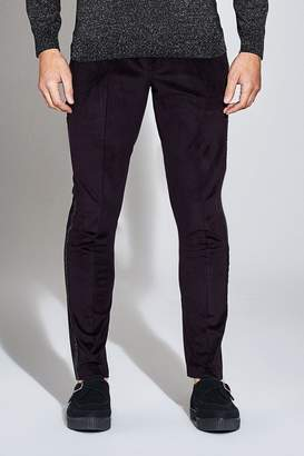 boohoo Premium Skinny Velour Trouser with Side Tape