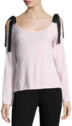Nanette Lepore Beau Scoop-Neck Velvet Bow Sweater