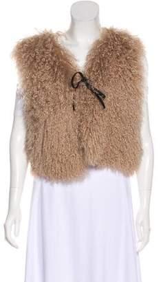 Giorgio Armani Tie-Accented Fur Vest
