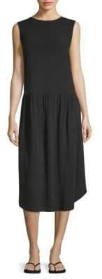 Eileen Fisher Roundneck Silk Midi Dress