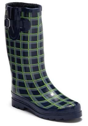 Northside Hawksley Geometric Print Faux Fur Lined Rain Boot