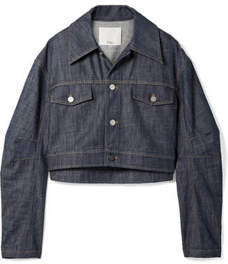 Tibi Cropped Denim Jacket - Dark denim