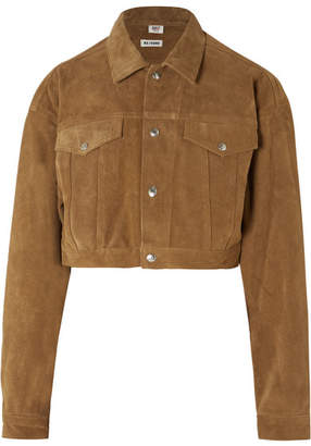 RE/DONE Cropped Fringed Suede Jacket - Mustard