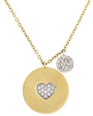 Meira T 14K Diamond Heart Disc Pendant Necklace