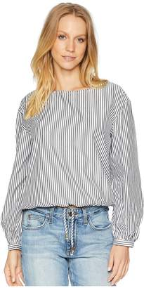 Bebe Long Sleeve Tie Waist Top w Logo Hardware Women's Clothing