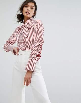 Style Mafia Stripe Ruffle Sleeve Pussy Bow Shirt $193 thestylecure.com