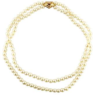 18K Yellow Gold Double-Strand Pearl and Diamond Ballerina Necklace