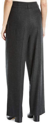 Loro Piana Killian High-Waist Wide-Leg Cashmere Flannel Pants