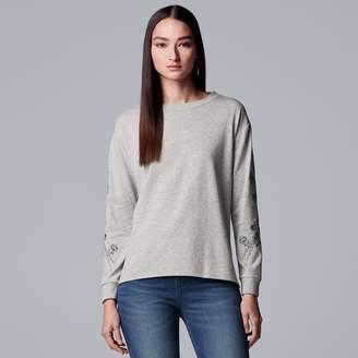 Vera Wang Women's Simply Vera Embroidered Drop-Shoulder Sweatshirt