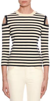 Alexander McQueen Striped-Knit Chain-Trim Cold-Shoulder Sweater