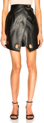 Self-Portrait Self Portrait Faux Leather Wrap Skirt in Black   FWRD