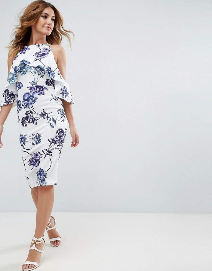 Asos ASOS Textured Cold Shoulder Midi Porcelain Print Dress